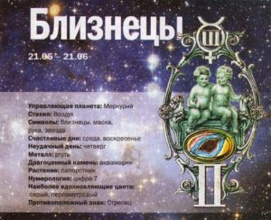 Какие числа у знака зодиака Близнецы